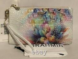 Brahmin Melbourne Daisy Grand Bracelet Zippé Embrayage Prism Ombre Rose Vert T.n.-o.