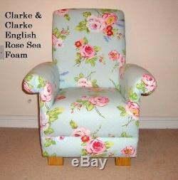Chaise Enfant Rose Fauteuil Clarke Anglais Sea Rose Mousse Tissu Menthe Verte Florale