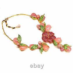 Chalcédoine Rose Naturel Thai Ruby & Vert Tsavorite Collier 925 Argent Sterling