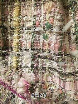 Chanel 05p Les Plus Recherchés Lesage Tweed Rose Vert Franges Veste Fr38 7k $