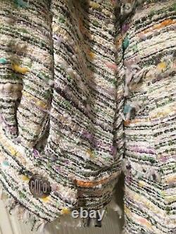 Chanel 08c Nouveaux Tags Tweed Ecru Pink Green Jacket Coco Buttons Belt Fr40-fr42 $7k