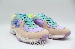 Chanel Sneaker Sport Runner En Veau Velours De Daim Façon Agneau, Nylon Vert / Violet 39