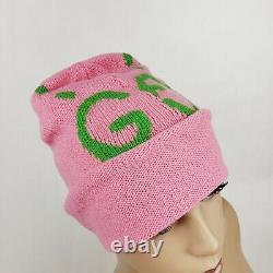 Chapeau De Bonnet En Laine Rose Gucci Avec Lime Green Ghost Gg M/57 455975 5866
