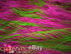Charismatico Flashy Neon Rose Et Vert Vif Asymétrique Salsa Robe Fringe