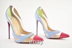 Christian Louboutin Blake Est De Retour 120 Blue Pink Green Patent Pvc Heel Pump 36