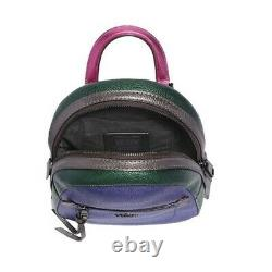 Coach F49122 Andi Metallic Pebbled Leather Backpack Pink Green Purple Nouveau