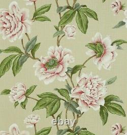 Colefax Et Fowler Curtain Fabric Design Giselle 7.6 Metre Pink/green 100% Linen