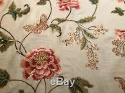 Colefax & Fowler Oriental Poppy Rose Vert Brodé En Lin Tissu F4111 Bie