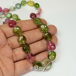 Collier De 23 Pouces Avec Perles En Tourmaline Rose Et Vert Pomme Verte Afghane 18 Carats