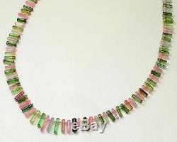 Collier De Perles De Cristal Tourmaline Lisse Rose Vert Bleu 25 Pouces Avec Fermoir