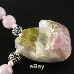 Collier De Perles De Kunzite Avec Pendentif Tourmaline Rose Vert Naturel