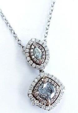 Collier Rose Fantaisie Naturel Vert Bleu Couleur De Diamant Personnalisé Main 18k 1,80 Ct