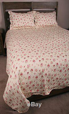 Couette King Set Rose Rose Rose Rose Shabby Chic Romantique Cottage Literie De Coton