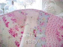 Couette Shabby Beach Cottage Bleu Rose Roses Chic Vert Framboise Toile Full Queen