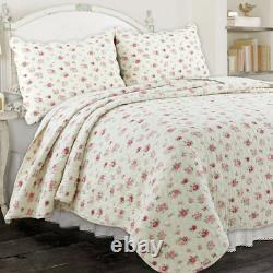 Cozy Shabby Chic Blanc Rose Rouge Green Leaf Cottage Soft Romantique Rose Jeu De Courtepointe
