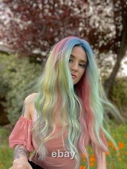 Custom Colored 100% Human Hair Perruque Multicolore Bleu, Rose, Vert, Purple Melt