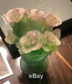 Daum Nancy Vase Vert Avec Rose Roses Footed Nib
