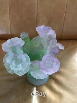 Daum Nancy Vase Vert Pink Roses Footed Signée Par L'artiste