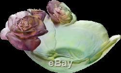 Daum Rose Passion Petit Bol Art Vert Et Rose En Verre Fabriqué En France 05289 Nouveau