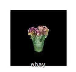 Daum Rose Passion Vase 05287 France Crystal Glass New Pink Green Numéroté Edit