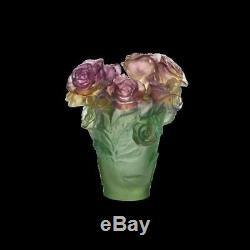 Daum Rose Passion Vase 05287 Rose Et Vert Nouveau