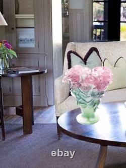 Daum Roses Vase Moyen Vert Et Rose 02570 France Crystal Glass Marque Neuve