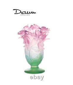 Daum Roses Vase Vert Et Rose 03507 France Crystal Glass Flambant Neuf Dans La Boîte