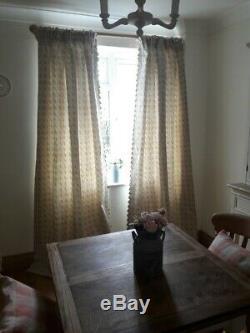 De Nouveaux Rideaux Fabriqués À La Main Paire En Tissu Susie Watson Rose Vert Bloomsbury Linen