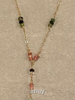 Delicate Pink Green Sapphire Station 14k Or Y Collier Fortunoff