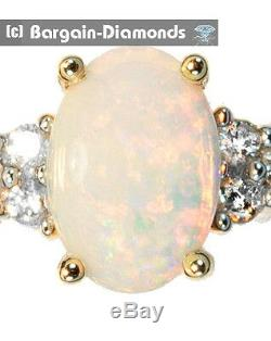 Diamant Opale Solide 14k Bague En Or Rouge Australien Engagement Vert Jaune Rose