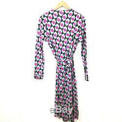 Diane Von Furstenberg Robe Portefeuille 8 Nouveau Julien Green Rose En Soie Imprimé Dvf Femmes