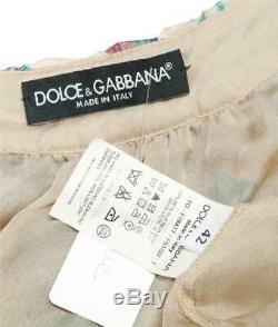 Dolce Gabbana Blouse Sans Manches En Soie Soyeuse Rose Verte À Fleurs Pour Femmes 6-42 Nouveau