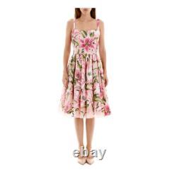 Dolce & Gabbana Rose Vert Floral Lily Imprimer Organza De Soie Boning Top 42it Us6 S