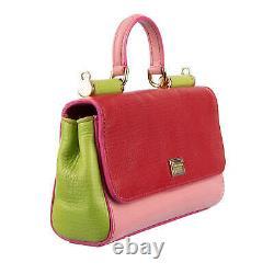 Dolce & Gabbana Sac À Bandoulière En Cuir Miss Sicily Mini Rouge Rose Vert 08722
