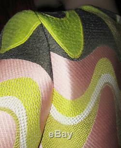 Emilio Pucci Robe Tres Broderie Rose / Vert / Gris Uk 6
