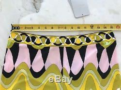 Emilio Pucci Vert Rose Jaune Noir Multi Imprimer Pantalon Taille 10 Nwts