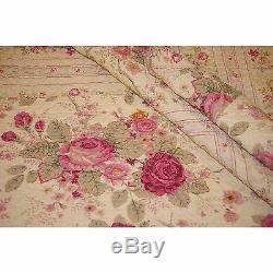 Ensemble De Courtepointe Belle Rose Réversible Fleur Vintage Jaune Rouge Vert