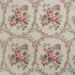 Ensemble De Courtepointe Vintage Floral Magnifique Rouge, Vert, Bleu, Jaune, Crème Et Rose