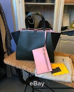 Fendi 100% Auth 3jours Forêt Vert / Rose Doublé Grand Fourre-tout Sac Shopper Bnwt! 3k $