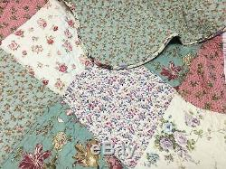 Floral Patchwork 3p Full Queen Cottage Blanc Chic Cilia Vert Rose