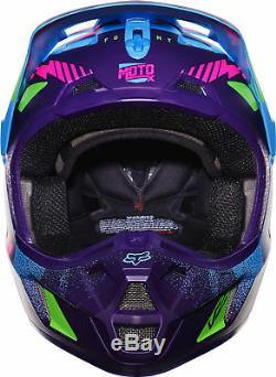 Fox Racing Adulte Bleu / Vert / Violet / Rose V2 Vicious Se Dirt Bike Casque Vtt MX