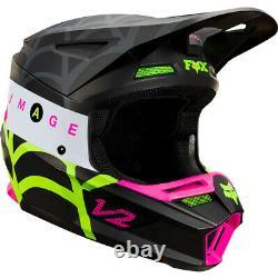 Fox V2 Venin Motocross MX Casque Noir / Vert / Pink Web Enduro Vélo Vtt Bmx