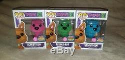 Funko Pop Floqués Rose Vert & Bleu Scooby Doo Set Sdcc 2017 1/1000 Et 1/2500