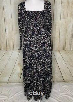Ganni Froncé Floral Georgette Maxi Dress Taille 10 Vert Noir Rose Flowy