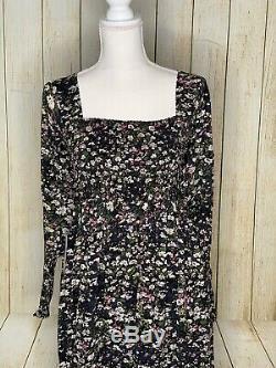 Ganni Froncé Floral Georgette Maxi Dress Taille 8 Vert Noir Rose Flowy