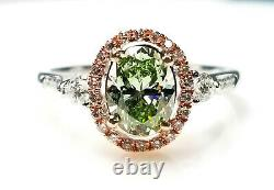 Gia 1.45ct Natural Argyle 7p Fancy Green & Pink Diamond Engagement Ring 18k Ovale