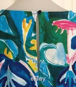 Gorman Neighbours Robe Jardin 12 Fits 14 Trop Vert Bleu Rose À Manches 3/4 Bnwt