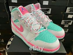 Gratuit Bateau Nike Air Jordan 1 MID Blanc Digital Rose Vert Gs Tailles 555112-102