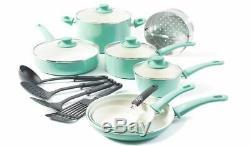 Greenlife 16 Pc Batterie De Cuisine En Céramique Sain Vert Tendre Grip Turquoise Poêles