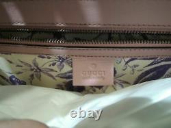 Gucci Animalier Tiger Head Claps Pink & Green Calfskin Leather Flap Shoulder Bag